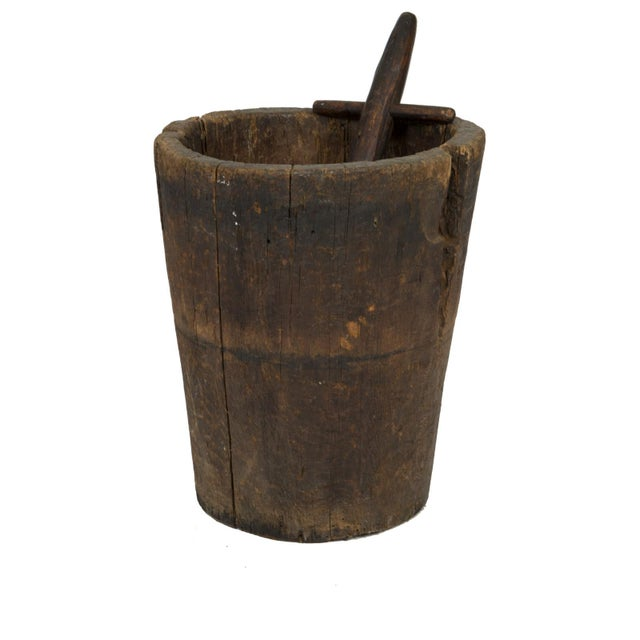 Wood Massive and Primitive Carved Chestnut Mortar With Pestle, French Circa 1800 For Sale - Image 7 of 9