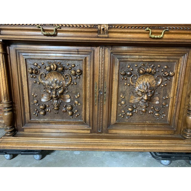 19th Century French Gothic Renaissance Carved Walnut Double Buffet / Cupboard For Sale - Image 9 of 12