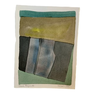 """1980s """"Greek Fragments"""" Abstract Watercolor Painting by Lee Hall For Sale"""