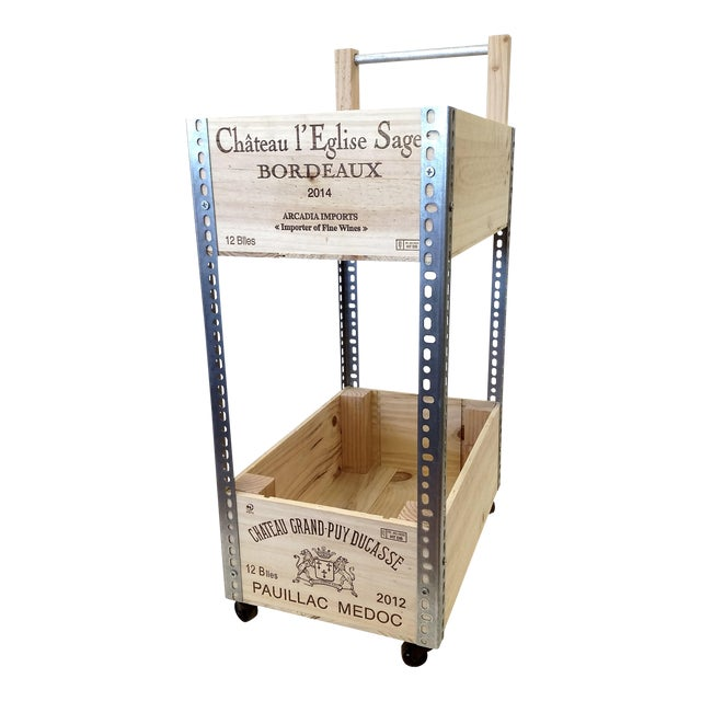 French Wine Box Industrial Bar Cart - Image 1 of 11