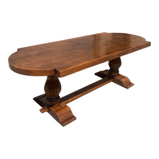 19th Century French Solid Walnut Monastery Trestle Table or Farm Table For Sale