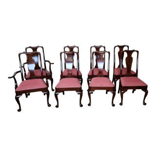 Solid Mahogany Stickley Furniture Queen Anne Dining Chairs - Set of 8