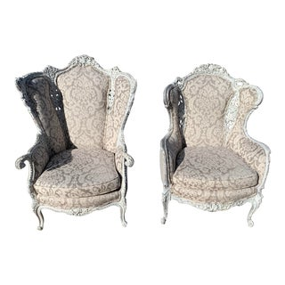 Victorian French Wingback Chairs - A Pair For Sale