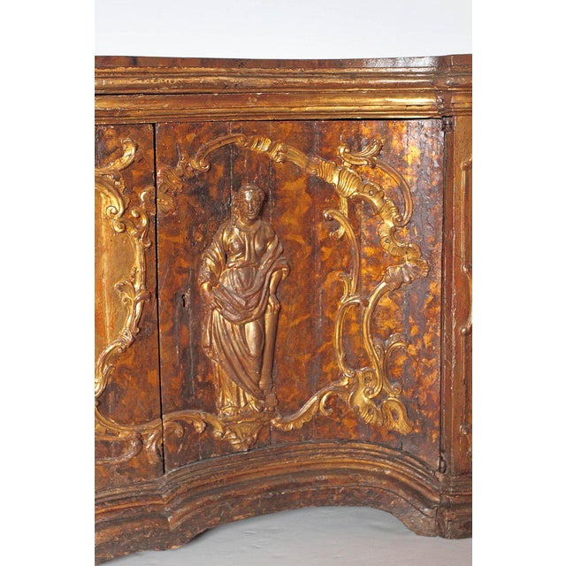 17th Century 17th Century Venetian Vestiary Gilt Cabinet With Faux Marble Top For Sale - Image 5 of 13