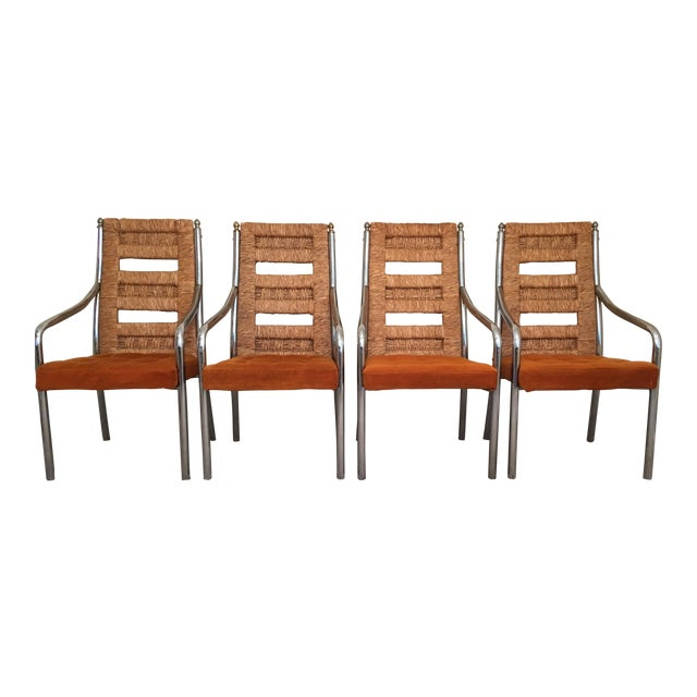 Vintage Modern Chrome & Rush Back Chairs by Chromcraft - Set of 4 For Sale