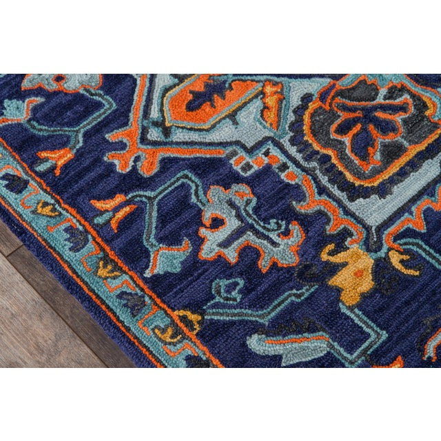 """Traditional Ibiza Navy Hand Tufted Area Rug 2'3"""" X 7'10"""" Runner For Sale - Image 3 of 7"""