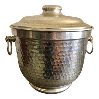 Vintage Italian Hammered Aluminum Ice Bucket For Sale