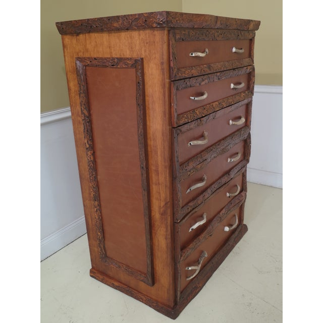 1990s Adirondack Style 6 Drawer High Chest For Sale - Image 9 of 12