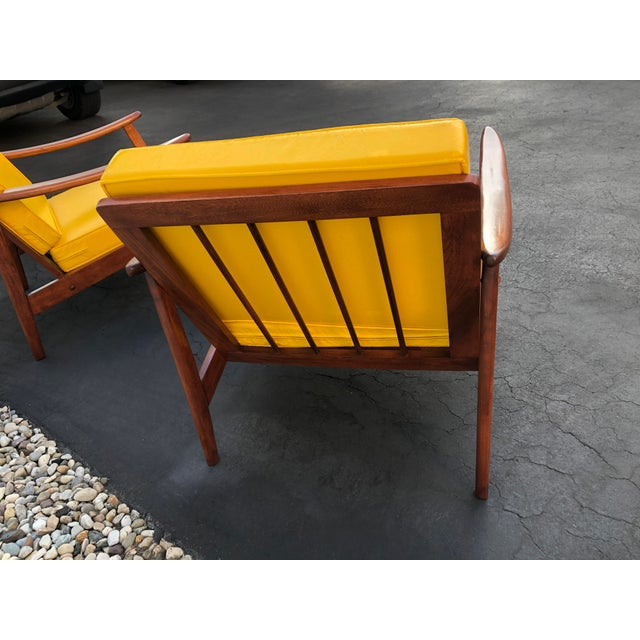 Wood Mid Century Danish Modern Lounge Chairs- a Pair For Sale - Image 7 of 13