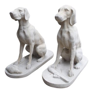 Pair of Large Cast Stone Hunting Dogs From France For Sale