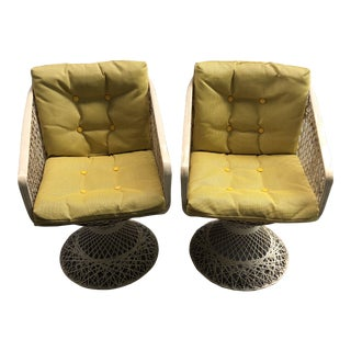 1970s Vintage Woodard Spun Fiberglass Swivel Chairs- A Pair For Sale