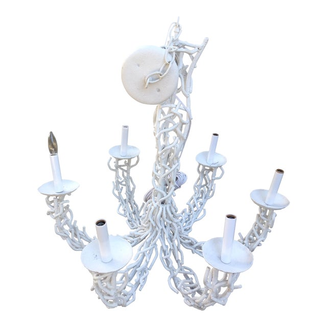 1950s Metal Coral White Chandelier For Sale