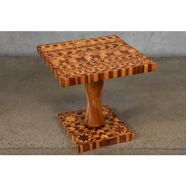 1970s Folk Art Marquetry Side Table For Sale - Image 5 of 5