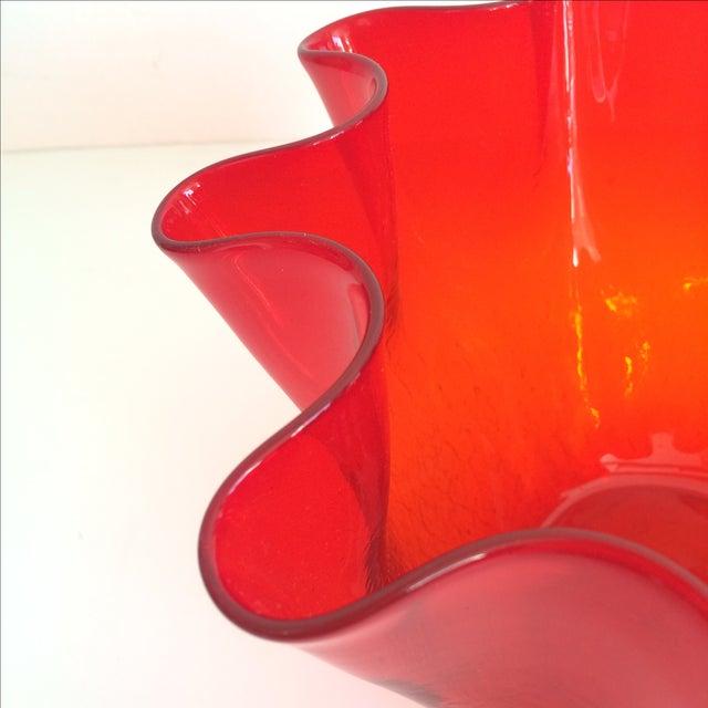 Vintage Red Blenko Crackle Glass Vase - Image 5 of 11