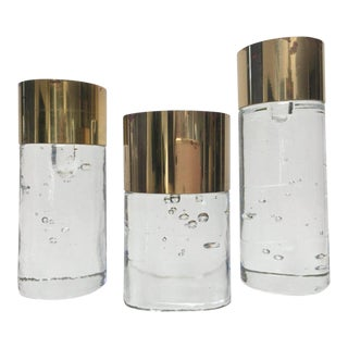 Final Markdown - 1980s Swedish Modern Rune Strand for Nybro Glass and Brass Tone Candle Holders - Set of 3 For Sale