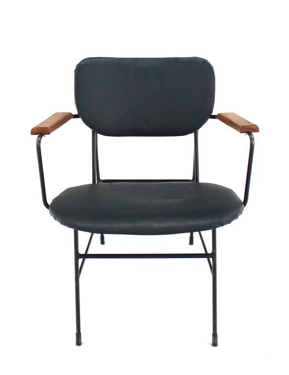 Green Rare Design Bent Wire Frame Wood Arm Mid Century Modern Dining Side  Chair For