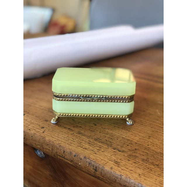 Green Yellow-Green Opaline Glass Box With Brass Trim and Feet For Sale - Image 8 of 9