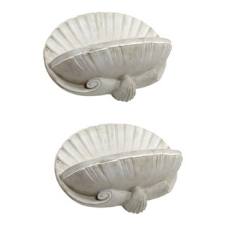 French Riviera Shell Shaped Pair of Plaster Sconce For Sale