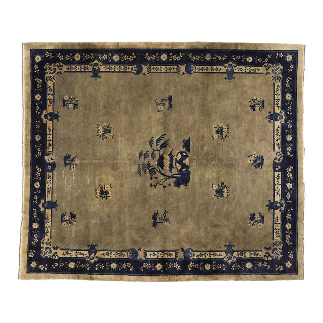 Early 20th Century Antique Chinese Peking Rug With Pagoda Design 08'03 X 09'07 For Sale