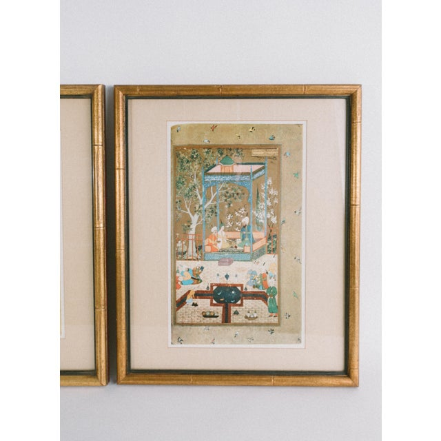 Set of 2 vintage Persian miniature prints, professionally framed with glass. These are printed reproductions of antique...