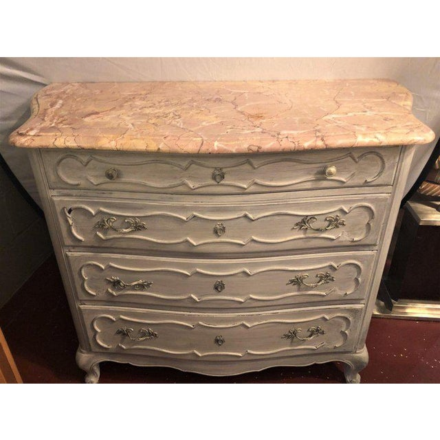 French Swedish Marble-Top Four-Drawer Chest or Commode or Nightstand Louis XV Style For Sale - Image 3 of 13