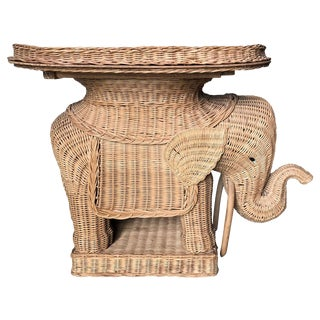 Vintage Wicker and Rattan Elephant Tray Table