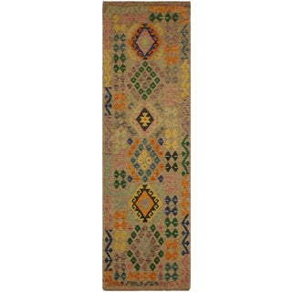Vennie Gray/Blue Hand-Woven Kilim Wool Rug -2'7 X 10'1 For Sale