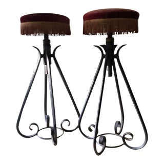 1950s Vintage French Wrought Iron Bar Stools - A Pair For Sale