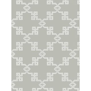 Sample, Scalamandre Suzhou Lattice, French Grey Wallpaper For Sale
