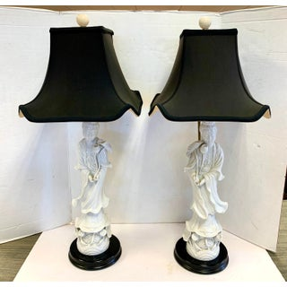 1970s Blanc De Chine Chinoiserie Porcelain Lamps With Shades - a Pair Preview