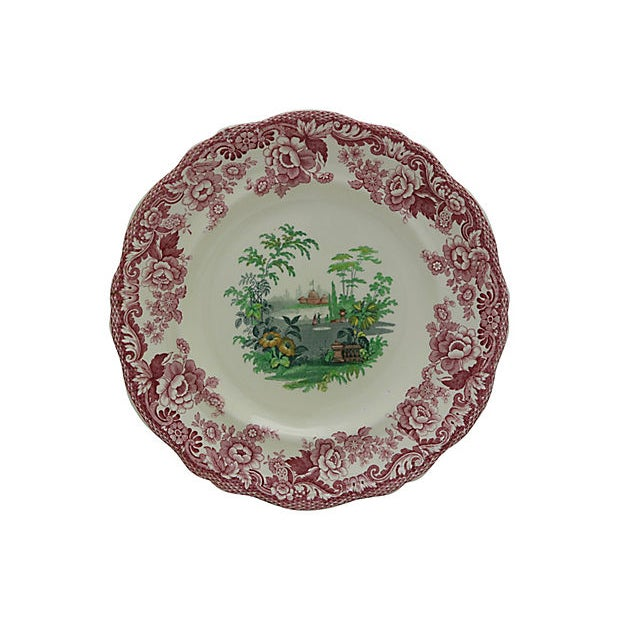 Thirty piece antique English Copeland Spode dinner set in Holiday colors. Pattern is Royal Jasmine. Dimensions: serving...