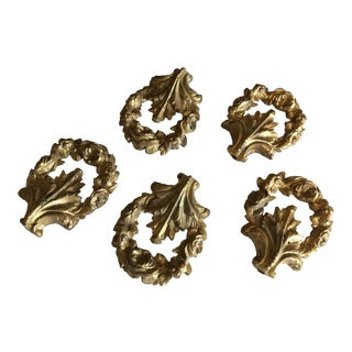 Antique French Gold Medallion Ornaments - Set of 5 For Sale
