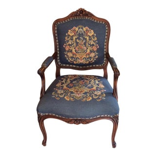 French Style Louis XV Occasional Chair with Needlepoint Cover