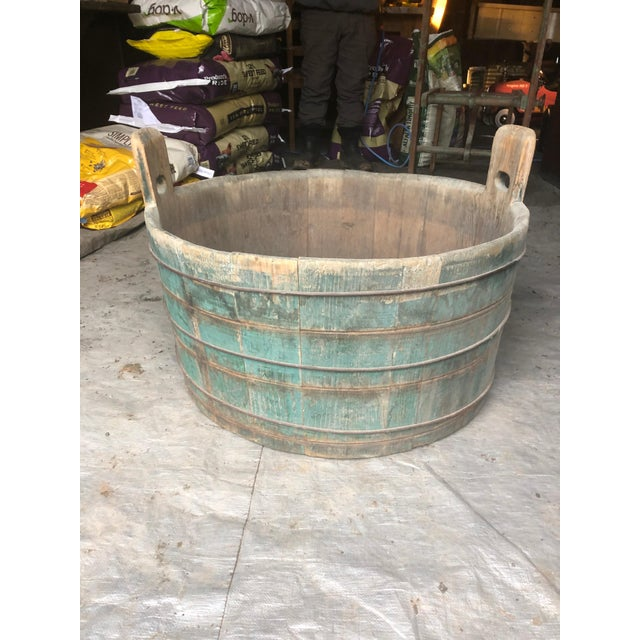 Distressed Country Washing Barrel Tub and Stand For Sale - Image 10 of 13