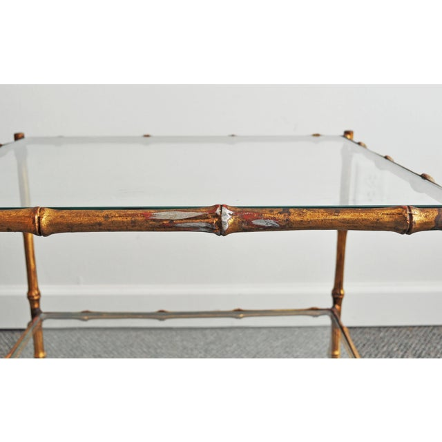 Vintage Italian Gold Gilt Faux Bamboo Table - Image 7 of 11