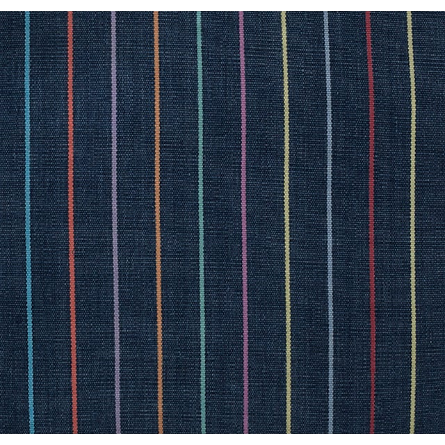 Pillow made from a vintage Guatemalan handwoven and hand-dyed indigo cotton skirt with rainbow stripes. Zipper closure....