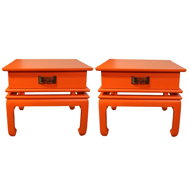 Vintage Mid-Century James Mont Style Orange Solid Wood & Brass Chinoiserie End Tables - a Pair For Sale In Los Angeles - Image 6 of 6