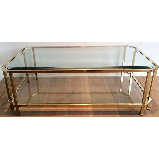 Mid Century Modern Roche Bobois Two Tiered Brass Coffee Table With Octagonal Corners and Beveled Top Glass Circa 1970 Pair of Tables For Sale In New Orleans - Image 6 of 6