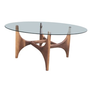 Contemporary Walnut Coffee Table For Sale