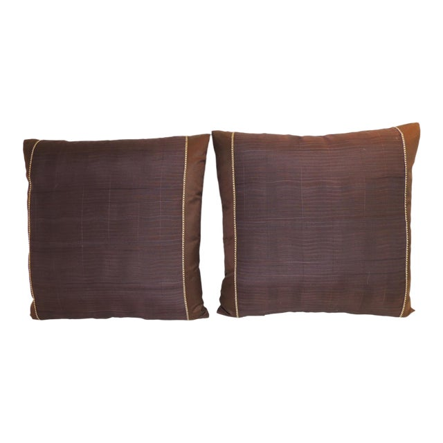 Pair of Vintage Brown and Purple Woven Decorative Square Pillows For Sale