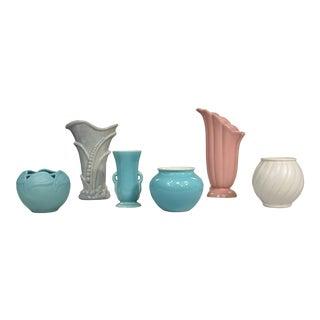 Collection of 6 Vintage Vases Abingdon RumRill Van Briggle Gonder 2 Gladding McBean For Sale