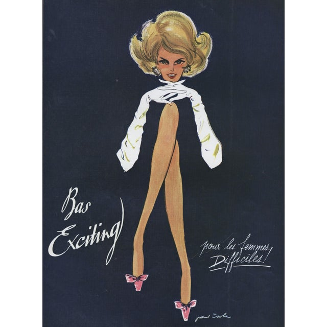 FUN-Matted Mid-Century French Advertisement Print for Fashion Hosiery For Sale - Image 4 of 4