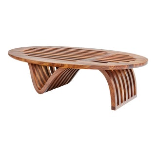 Contemporary Oval Walnut Coffee Table