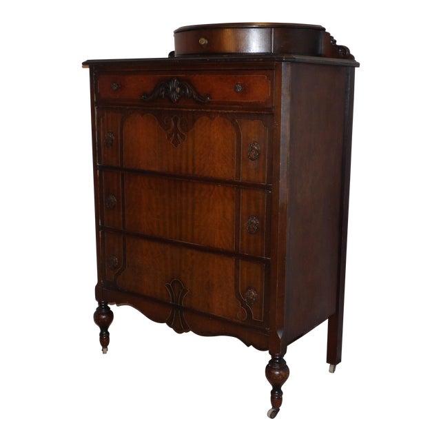 1920s antique art deco walnut dresser bureau chest of drawers demilune top