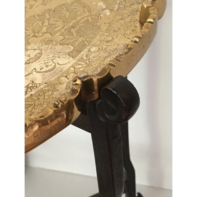 Scalloped Chinese Brass Collapsible Tray Table For Sale - Image 4 of 11