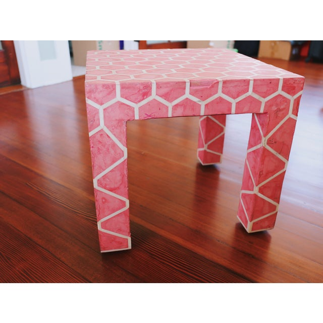 1990s Antique Pink Clay Bone Inlay Honeycomb Side Table For Sale - Image 5 of 9
