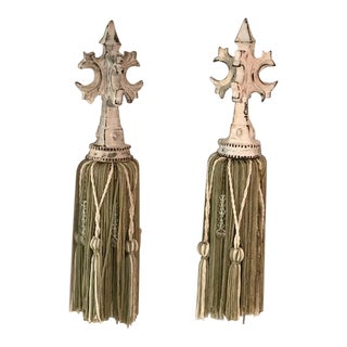 20th Century Green and Cream Tassels - a Pair For Sale