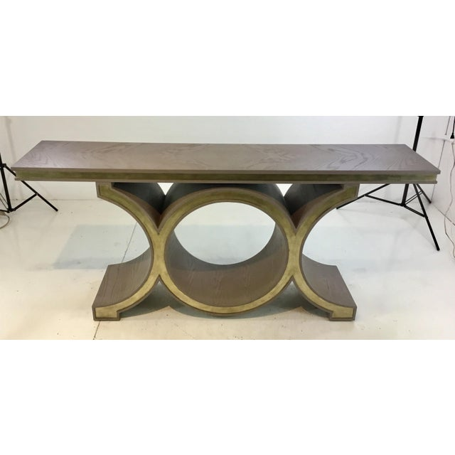 Original retail $4197, stylish Global Views modern gray and champagne silver link console table , showroom floor sample