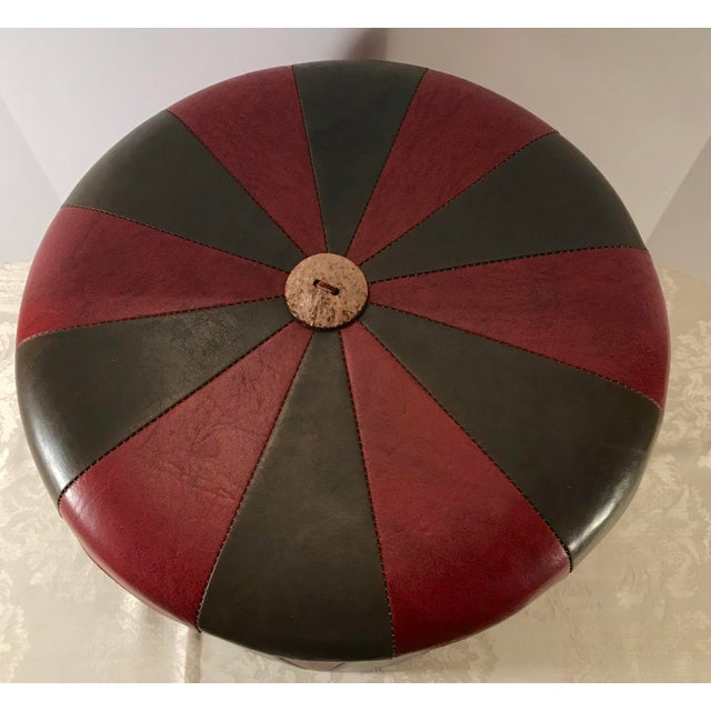 Mid 20th Century 20th Century Boho Chic Brown Leatherette Pouf Footstool For Sale - Image 5 of 8