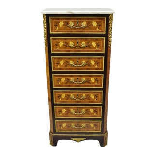 20th Century Louis XV Marble Top Inlaid 7-Drawer Lingerie Chest